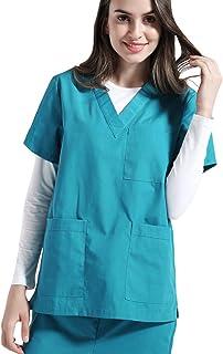 9ea456349d7 Nideen Women's V-Neck Solid Scrub Top Short Sleeve Lab Coat Scrubs Adult  Uniform