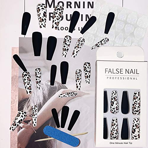 EBANKU 72 Stück Falsche Nägel Sarg Künstliche Fingernägel Lange Falsche Nägel Leopard Reine Farbe Stick on Nails Ballerina Full Cover Acryl Falsche Nails Tips Fake Nails für Frauen Mädchen