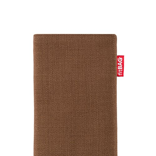 fitBAG Rave Brown Custom Tailored Sleeve for Nokia 6630. Fine Suit Fabric Pouch with Integrated Microfibre Lining for Display Cleaning