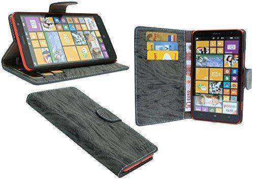 ENERGMiX Buchtasche Hülle kompatibel mit Nokia Lumia 1320 Case Tasche Wallet BookStyle mit STANDFUNKTION Anthrazit