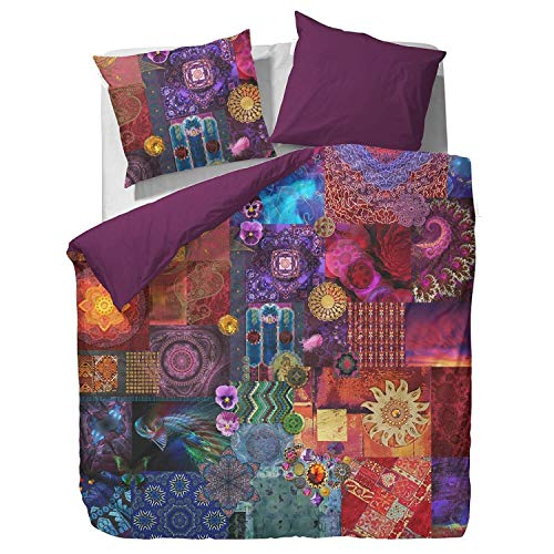 ESSENZA Bettwäsche Delhi Purple Lila Mandala Patchwork Satin, Größe:200 cm x 200 cm