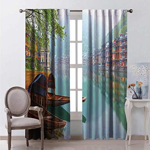 Toopeek Heat insulation curtain Chinese Wood Canal For living room or bedroom W84 x L84 Inch