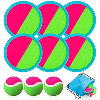 Toss and Catch Ball Set Catch Game Toys for Kids Beach Toys Paddle Ball Game Set with 6 Paddles and 3 Balls Perfect Outdoor Games Sets Playground Sets for Backyards for Kids/Adults/Family