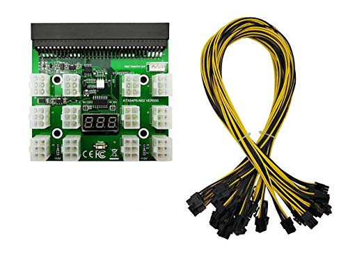 Tekit Ethereum Mining ETH ZEC LTC 1200W 750W Server PSU Power Supply Unit to GPU Breakout Board Adapter + 12pcs 6-Pin PCIe to (6+2Pin) PCIe Graphics Card Power Cables (GPU Breakout Board+12PCS Cable)