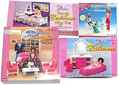 zfinding Dollhouse Furniture Set of 4, Bedroom,Dining Room, Bathroom, Living Room for Barbie Dolls