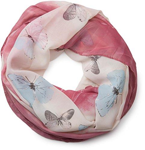 styleBREAKER Schmetterling Muster Loop Schlauchschal, seidig leicht, Damen 01016097, Farbe:Himbeer-Rose