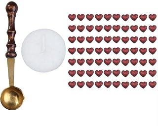 Newly - Cuchara de sellado de cera con mango de madera y 70 cuentas de cera para sellar en forma de corazón, color rojo vino