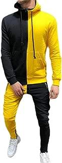 Mens Zipper Patchwork Hoodie Sweatshirt Top Pants Sets Tracksuit Jogging Sweatsuit Activewear