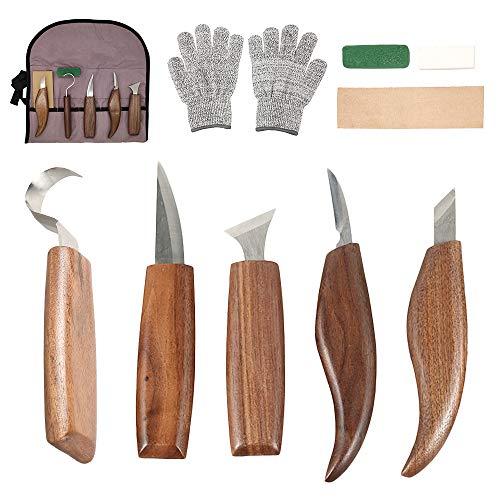 Holz-Schnitzwerkzeug Set, Holz Schnitzmesser mit Schleifsteine 10 Teiliges, Professional Holzschnitzerei Messer Werkzeuge, Schnitzmesser-Set für Anfänger und Profis mit Schnittfeste Handschuhe