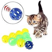 N-K PULABO 新しいリリースされた小さなベル直径3.5cmの10個のプラスチック製のカラフルな猫のボールのおもちゃ形が独特で外観が美しい。 精致な