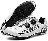 KUXUAN Calzado de Ciclismo para Hombre Calzado de Bicicleta de Deporte Al Aire Libre Autoblocante Bicicleta de Carretera Profesional de Carreras,White-36=(230mm)