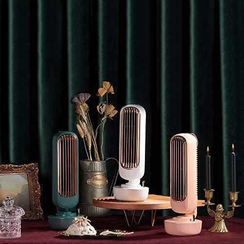 LAMPO卓上ミストファンUSB扇風機羽なし加湿器220mlレトロおしゃれ小型ミニコンパクトオフィスデスク(ピンク)