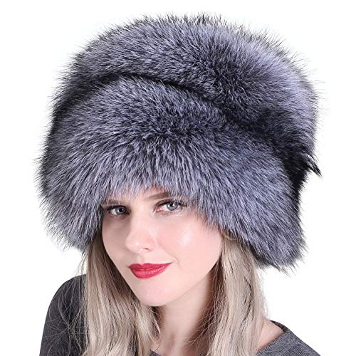 TBATM Pelzmütze für Frauen Cossack Russian Style Faux Fuchspelzmütze Damen Winter Dicke Warme Ohrenschützer mit Schwanzkappe,Grau