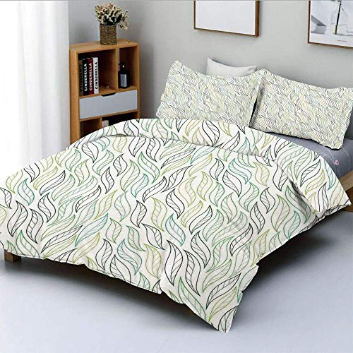 Duvet Cover Set,Floral Leaf Patterns with Ornamental Lines Contemporary Graphic ArtDecorative 3 Piece Bedding Set with 2 Pillow Sham,Green Soft Green Navy Blue,Best Gift For Ki Easy Care Ant