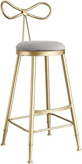 GYPPG Bar Stool Grey Upholstered with Gold Iron Legs Footrest and Back for Breakfast Barstool, Pub, Counter, Kitchen and H...