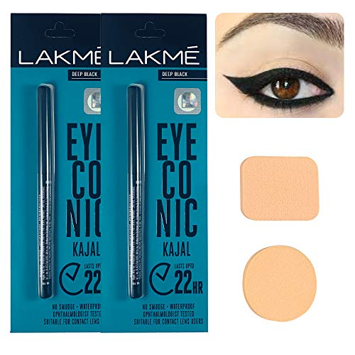 Eyeconic Kajal Twin Pack – 2 PCS Multipurpose Makeup Sponge – Waterproof and Long Lasting Up to 24 Hours Eyeconic Kajal Black