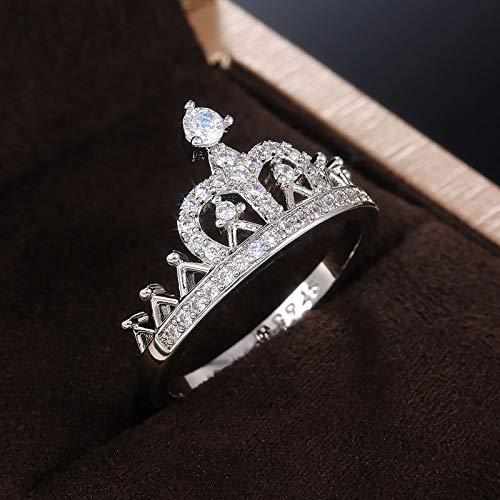 Hunpta - Anillo vintage con diamantes de imitación para mujer, regalo de cumpleaños, Navidad, fiesta de boda