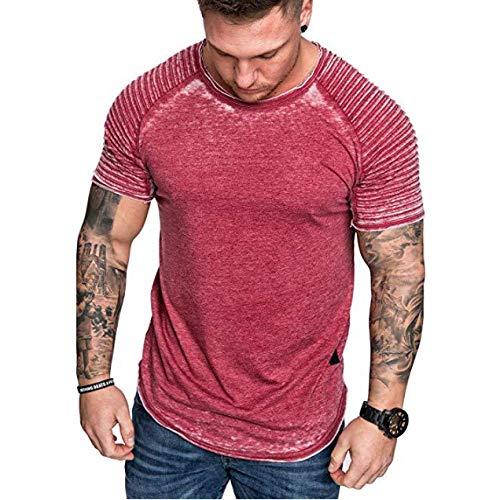 CFWL Herren LäSsig Zerknittert Einfarbig T-Shirt LäSsig Sportmode Kurzarm T-Shirt Sommer Slim-Fit BüGelleicht Core Stretch Slim Poplin Shirt Freizeithemd Jeanshemd Herren Denim Shirt Rot XL