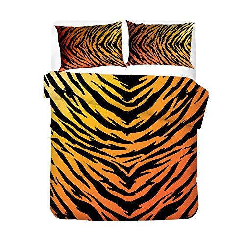 Estampado Animal Suave Y Ligero Patrón De Rayas De Tigre Funda Nórdica De Microfibra Juego De Cama Suave (1 Funda Nórdica 2 Fundas De Almohada) 200 x 200cm-Naranja