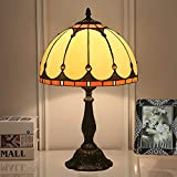 Lámpara de mesa mediterránea clásica artesanal, estilo tiffany 12 pulgadas de cristal manchada de la lámpara de escritorio de la lámpara de la lámpara de dormitorio ámbar para la sala de estar de la c