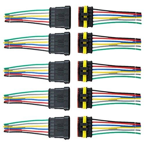 Qiorange 5Pcs 6 Polig Kabel Steckverbinder Stecker Wasserdicht Schnellverbinder KFZ LKW Auto