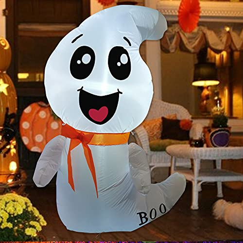 GOOSH 4 FT Halloween Inflatable Outdoor White Cute Ghost, Blow Up Yard Decoration Clearance with LED Lights Built-in for Holiday/Party/Yard/Garden