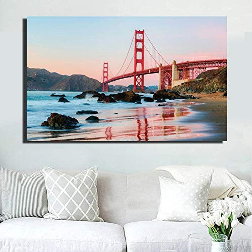 QWESFX Golden Gate Bridge Landschaft Wandplakate-San Francisco Seascape Dekorative Bilder Berühmte Sehenswürdigkeiten Kunst Leinwand (Druck ohne Rahmen) A 35x70CM
