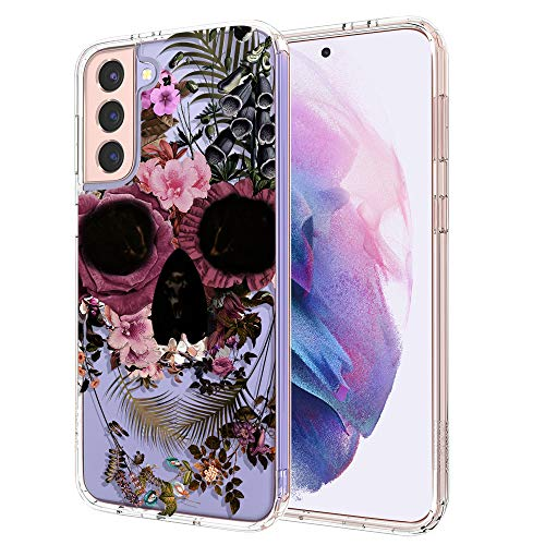 MOSNOVO Galaxy S21 Case, Skull Floral Flower Pattern Clear Design Transparent Plastic Hard Back Case with TPU Bumper Protective Case Cover for Samsung Galaxy S21 5G