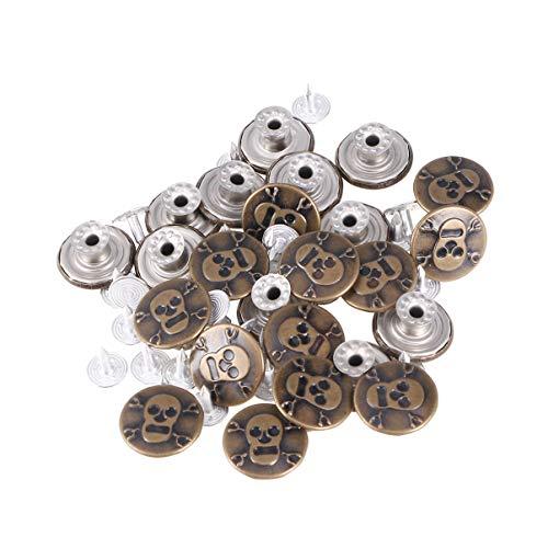 Healifty 25 Piezas Botones de Cierre Rápido Bronce Vintage Broches de Calavera Botones de Presión Botones de Resorte para Lienzo Jeans Costura 17Mm