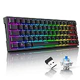 Tronsmart Tastiera Gaming Meccanica Wireless, 68 Tasti, 16.8 milioni colorati RGB, 100% Anti-ghosting, Tastiera da gioco Bluetooth/2.4Ghz/Wired-3 types Collegare, Memoria integrata, Interruttori Blue