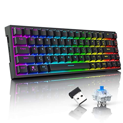Gaming Tastatur Mechanische,Tronsmart Elite RGB Wireless Tastatur QWERTY(Programmierbare QWERTZ) mit Blauen Schaltern 68 ABS Taste,Mechanische Tastatur mit DREI Verschiedenen Verbindungsmethoden