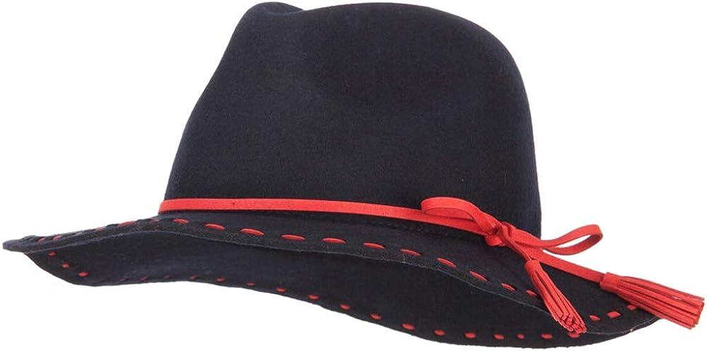 Women's Tassel Tie Trim Large Stitch Detailed Brim Wool Fedora Hat