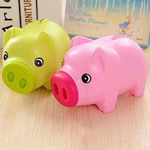 jiamins plástico Hucha Moneda Dinero Efectivo Ahorro Caja Coleccionable para niños niñas niños Pig juguete regalo, plástico, Rosa, 7.48' x 4.72' x 3.74'