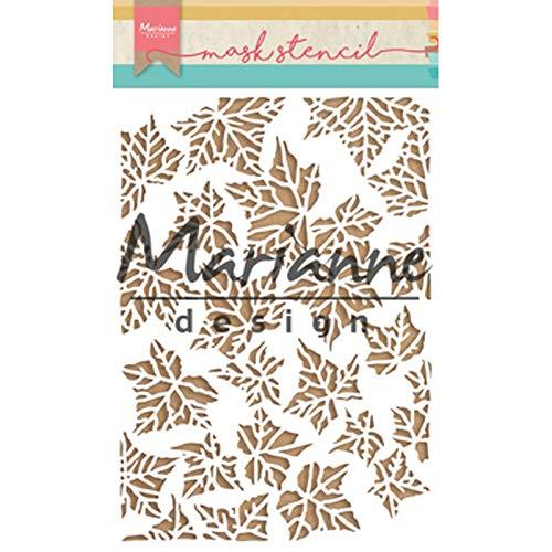 Marianne Design PS8009 Kunst und Handwerk Mask Schablone, Blätter, für Scrapbooking, Kartengestaltun und Papierbasteln, Kunststoff, transparent, 149 x 210 mm