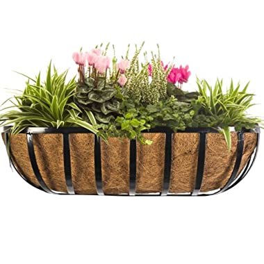 CobraCo HTR24-B 24-Inch English Horse Trough Planter, Black
