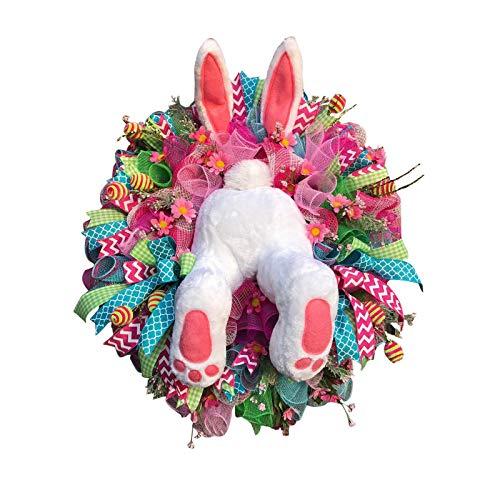 CMOM - Ghirlanda con coniglio pasquale per porta anteriore, sedere e orecchie, rosa, decorazione da parete, decorazione pasquale e per la casa, da appendere