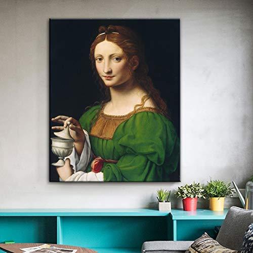 ganlanshu Rahmenlose Malerei Berühmtes Meisterwerk des Malers Maddalena Wandbilder Dekoration 60X72cm