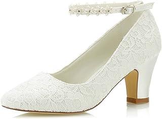 Mrs Right 62311A De Las Mujeres Zapatos de Novia Dedo del pie Cerrado Talón Grueso Cordón Bombas de satén Zapatos de Boda ...