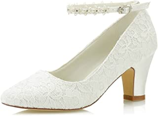 Mrs Right 62311A Women's Bridal Shoes Closed Toe Chunky Heel Lace Satin Pumps Satin Flower Wedding Shoes