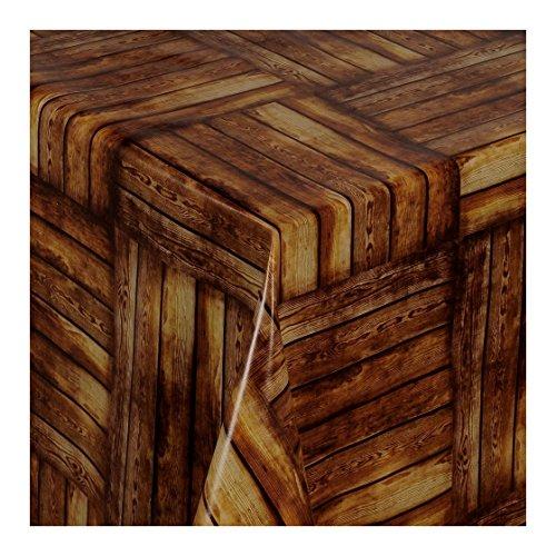 WACHSTUCH Tischdecken Wachstischdecke Gartentischdecke, Abwaschbar Meterware, Länge wählbar, Brown Wood Holzoptik (168-00) 110cm x 140cm