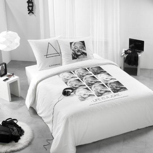 C Design Marilyn Housse DE Couette 140 X 200 CM, Blanc avec Impression, 140 x 200