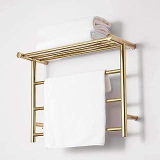 Radiador eléctrico de toallas, toallero térmico de titanio y oro galvanizado, secador de toallas de acero inoxidable 304, estante para baño del hotel, secado a temperatura constante, 480X610X230 mm