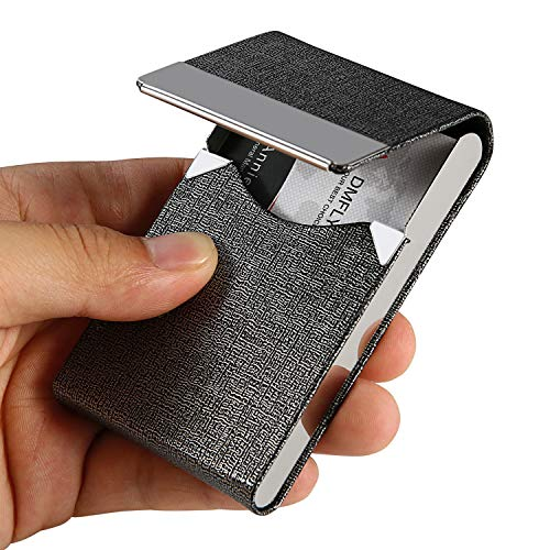 DMFLY Professional Business Card Holder Slim Metal Business Card Case Pocket Business Card Wallet Business Card Carrier for Men & Women, 3.7 x 2.4 x 0.5 inches, Stainless Steel and PU Leather, Gray-1