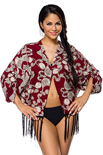 1001-kleine spullen op strandjack Mary jassen met franjes zomerse franjesjasje strandjurk in rood