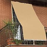 Cortina parasol con anillas para balcón hecha de tela resistente y lavable, color verde, beige