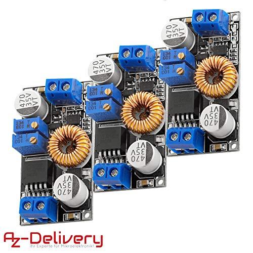 AZDelivery 3 x XL4015 Spannungswandler DC-DC Step Down Modul 5A 8V-36V zu 1,25V-32V für Arduino