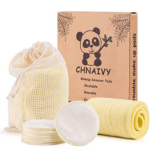Chnaivy Waschbare Abschminkpads, 3 Schichten 100% Baumwolle Makeup Entferner Pads mit Wäschebeutel,Waschbar Weiche Gesichts Pads Zero Waste Nachhaltige,12 STÜCK +1 Haarband