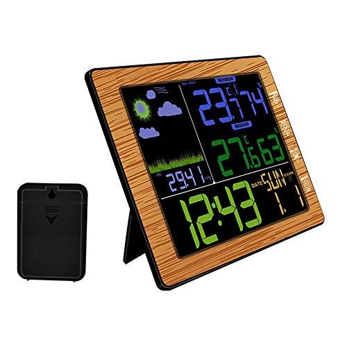 LSAMX Funkwetterstation Innen Außen Wettervorhersage-Station Hygrometer Thermometer Wecker mit Außensensor,Wood