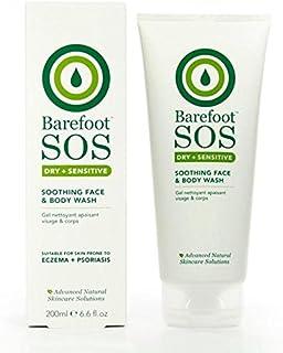 フェイス&ボディウォッシュ200ミリリットルをなだめる裸足 x4 - Barefoot SOS Soothing Face & Body Wash 200ml (Pack of 4) [並行輸入品]