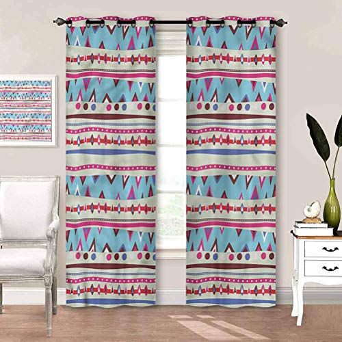 painting-home Curtain Tribal, Mexican Aztec Pattern Room Darkening Window Drapes Thermal Insulated, Noise Reducing, Sun Blocking W63 x L45 Inch
